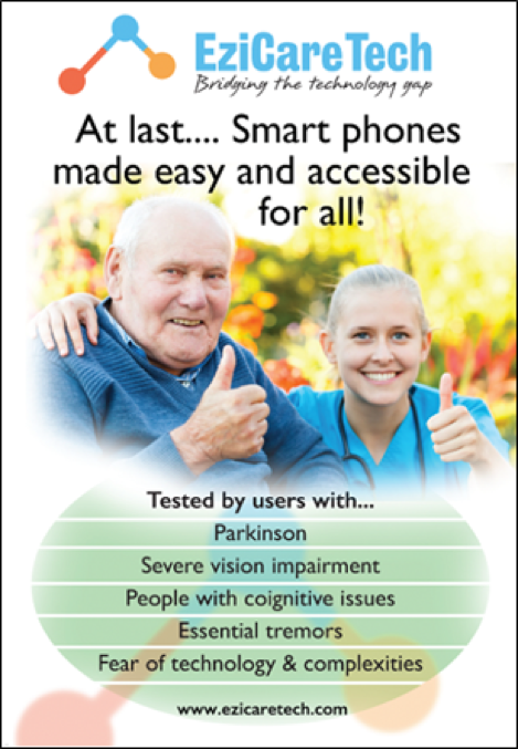 "Smiling older gentleman in a wheelchair with young nurse both displaying 'thumbs up' with text, ""EziCare Tech, bridging the technology gap."""