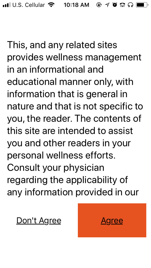 Screenshot of Eyes-Free Fitness app: Medical disclaimer page.