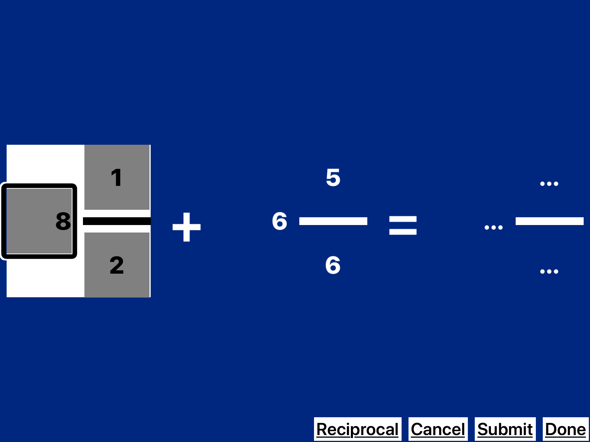 screenshot of Practice 2 Master Fractions in Edit mode with VO focus on the Whole Number 8.