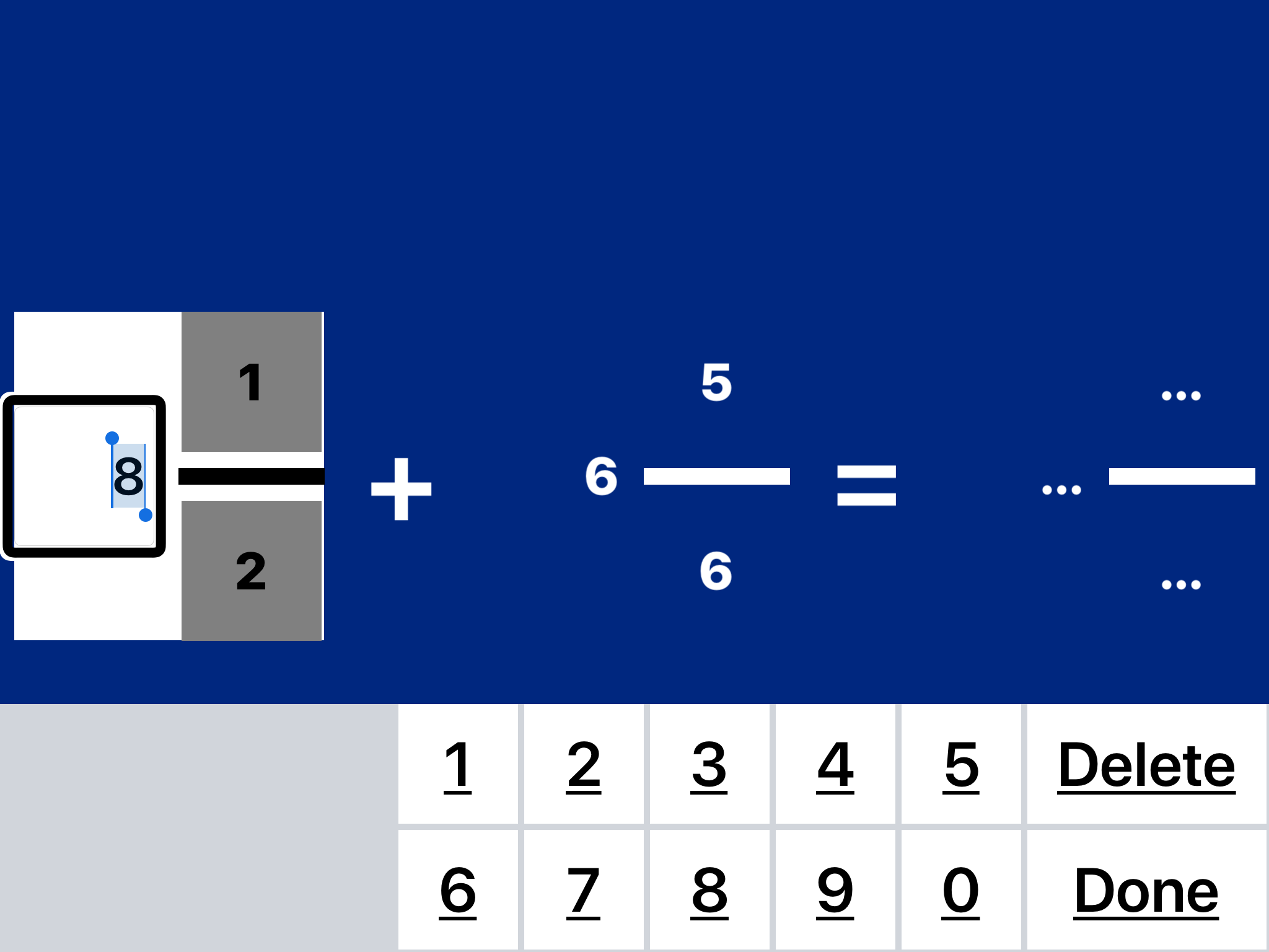 screenshot of Practice 2 Master Math with Edit mode on 8 and virtual numeric keyboard displayed.