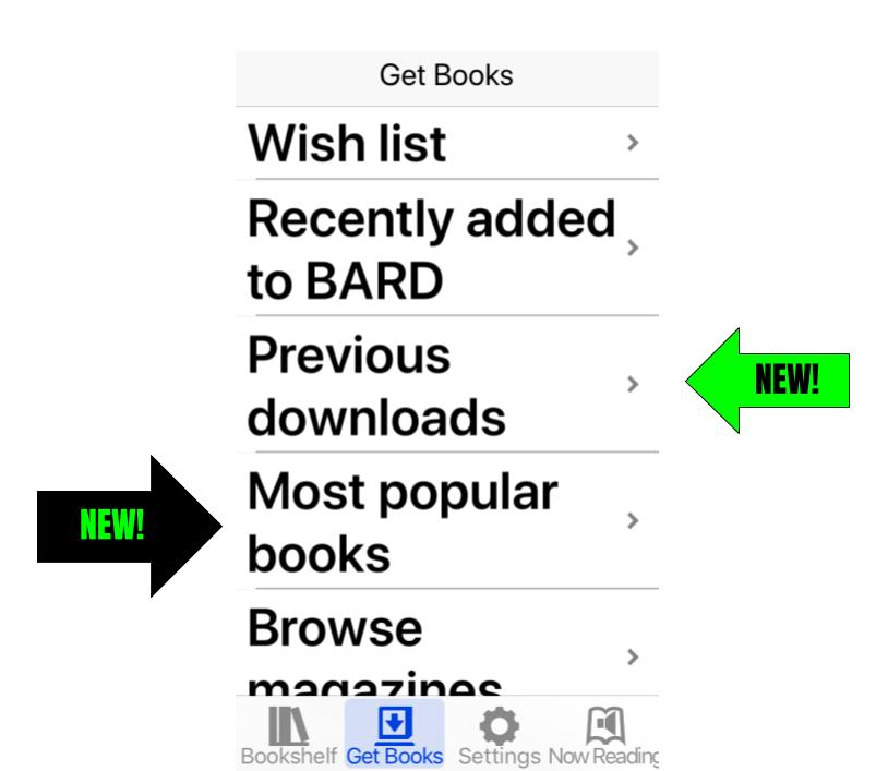 Screenshot of BARD Mobile app displaying Get books tab with the new options,  previous downloads and most popular.