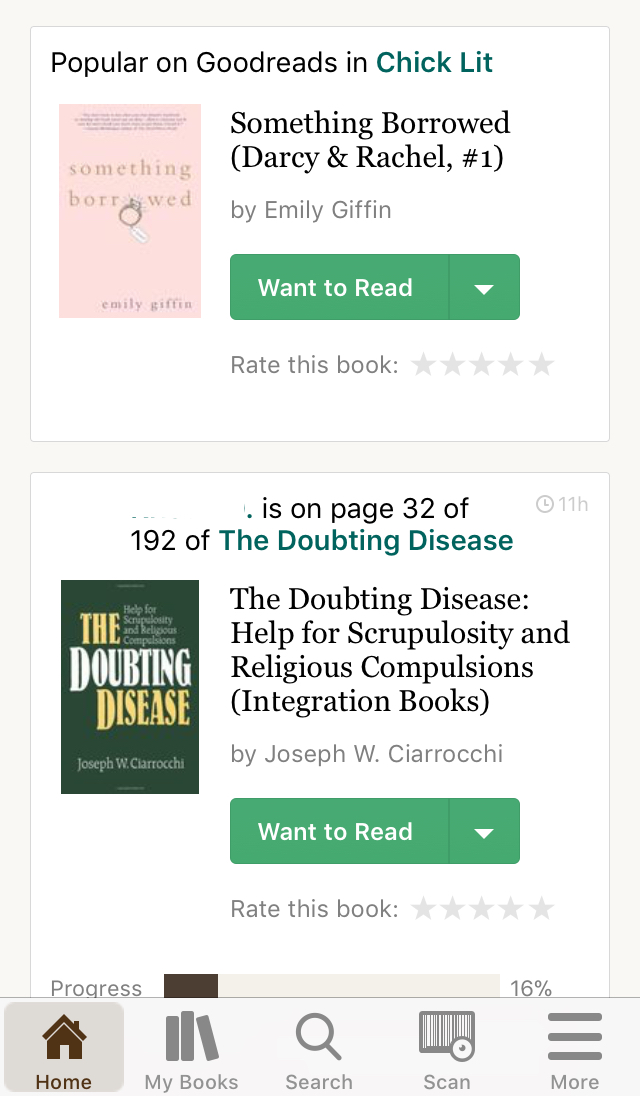 Screenshot of Goodreads Home Screen with list of books friends are reading.