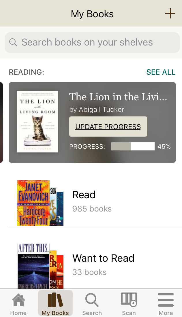 Screenshot of Goodreads displaying My Books page; showing the current book is 45% read and lists of books to read & want to read.