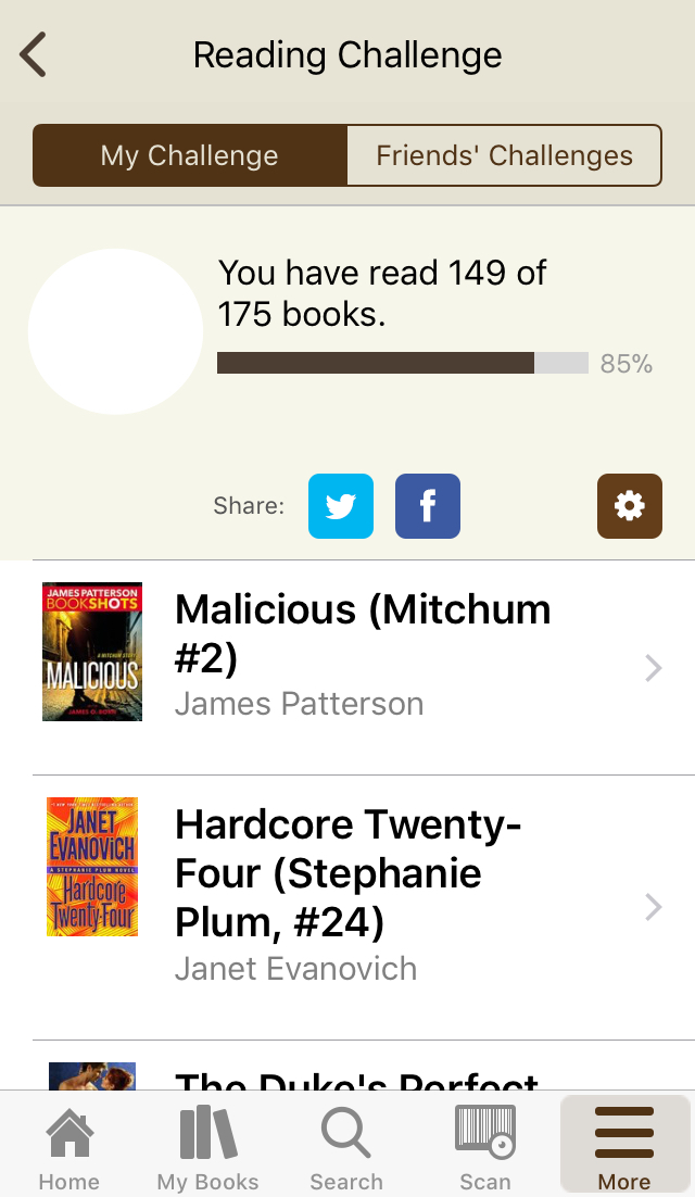 Screenshot of Goodreads displaying Reading Challenge listing the number of books you have read our of the number of books in your goal.