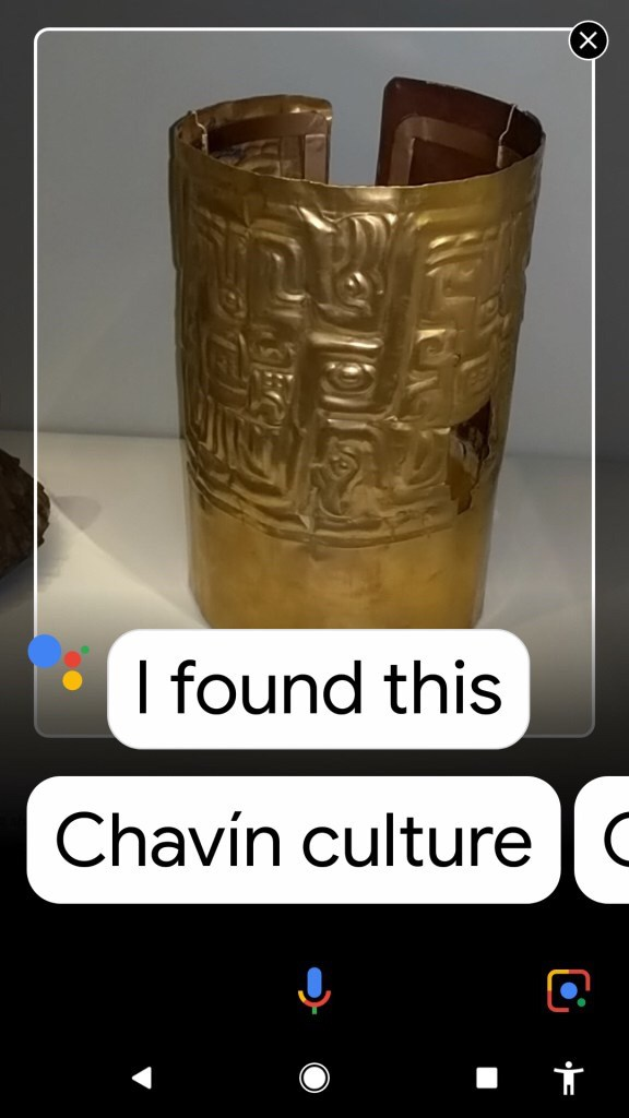 "Google Assistant screenshot of gold Indian vase with text, ""I found this"" Chavin Culture"