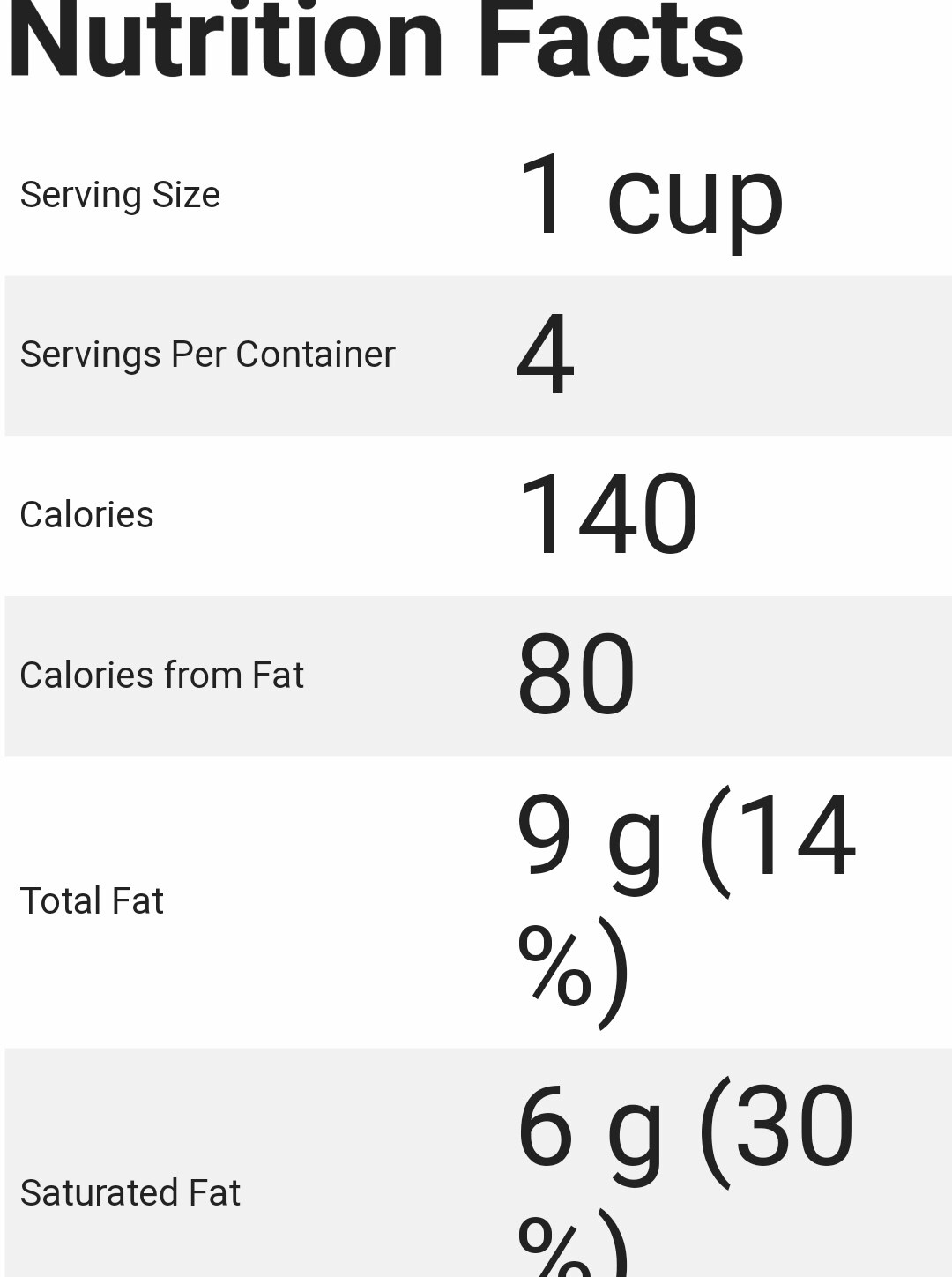 Screenshot of Google Assistant displaying the nutrition facts of the yogurt jar.