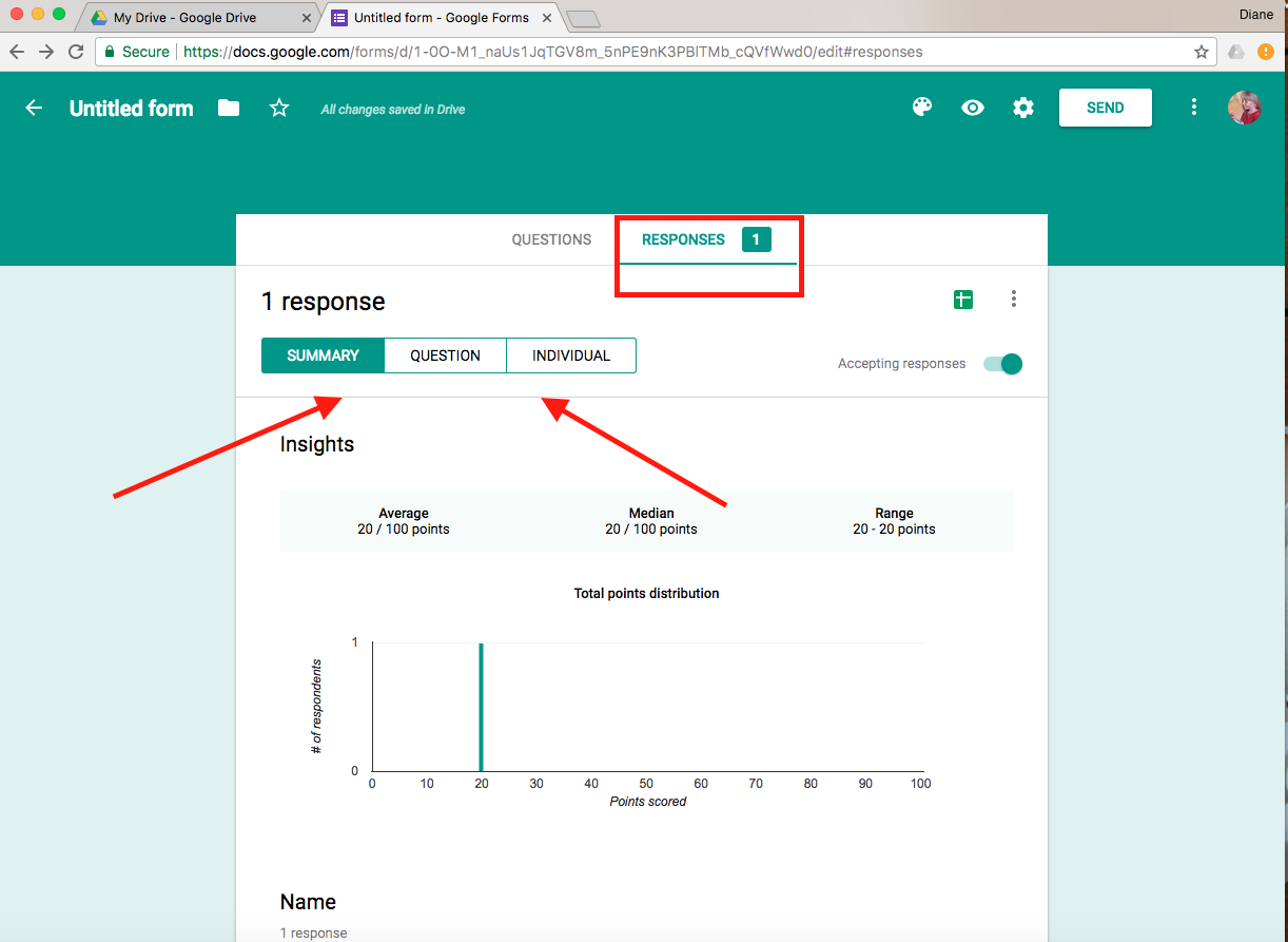 Google Forms Screenshot: Responses screen with Responses and Summary/Question/Individual buttons annotated.