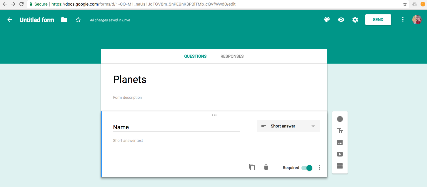 Google Forms screenshot with Planets worksheet and Name as first short answer question.