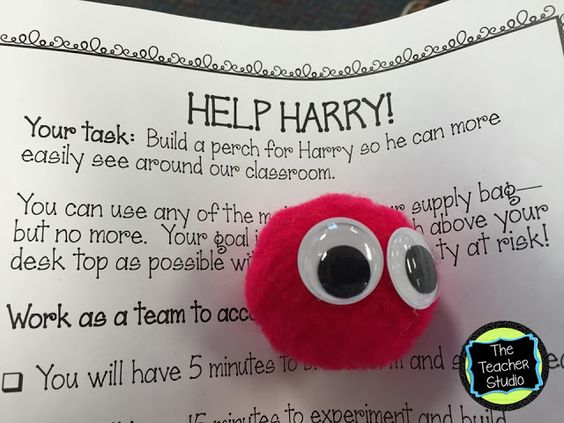 Help Harry directions: Harry is a small red puffball with googly eyes. Task is to build him a new perch.