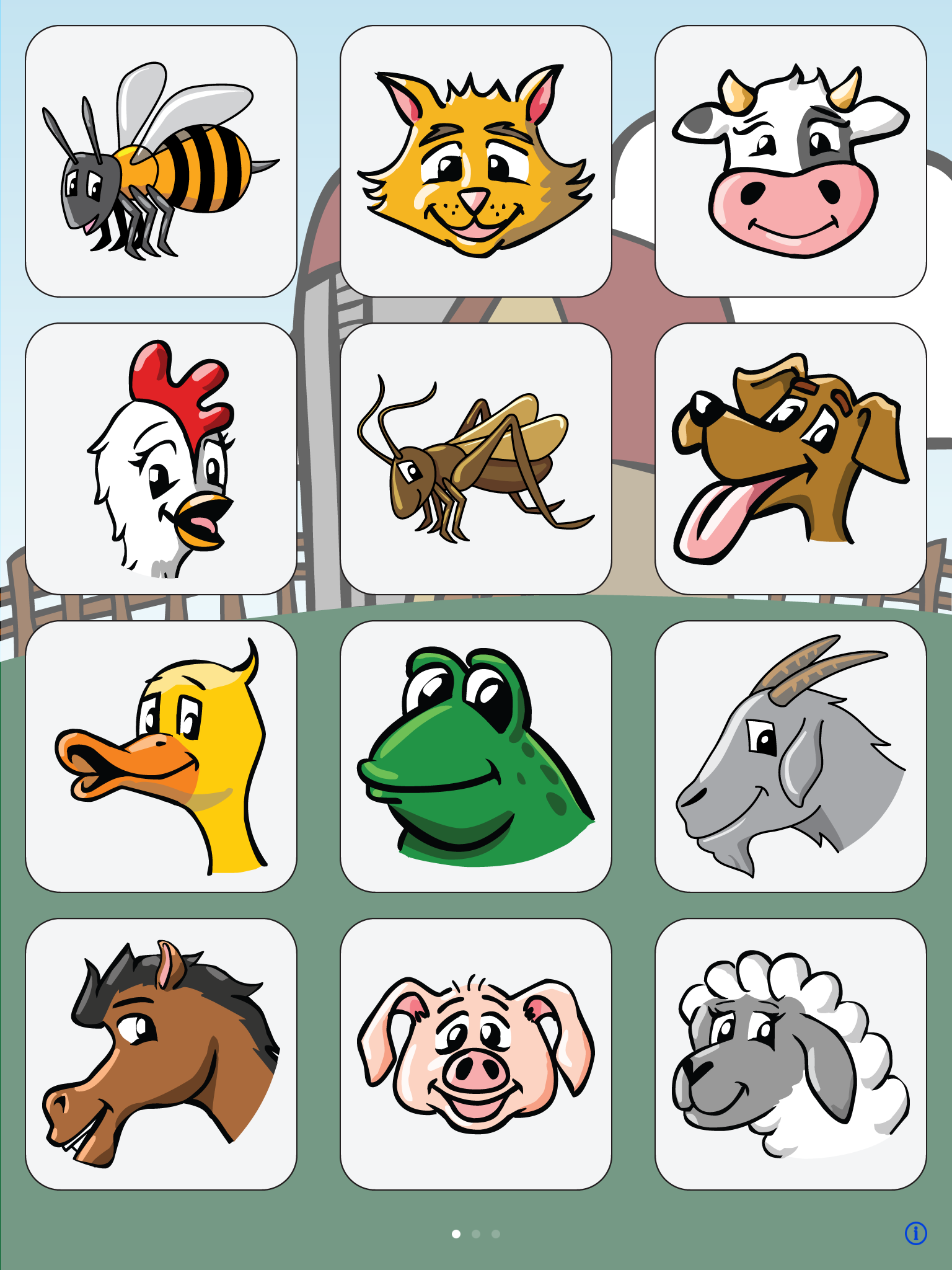 I Hear Ewe app screenshot with a cartoon animal in each of 12 boxes.