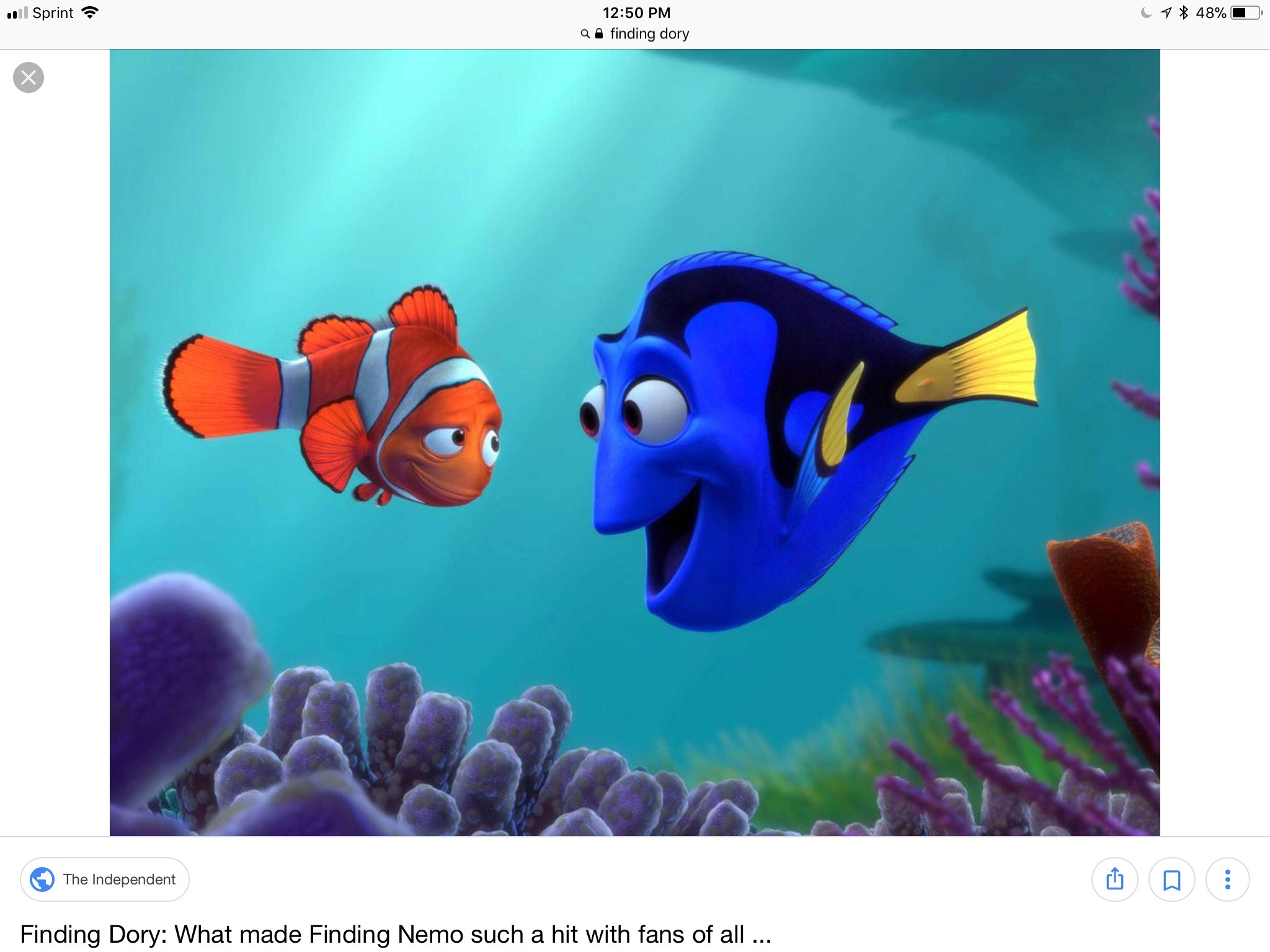 Image of Dory and another fish with underwater background.