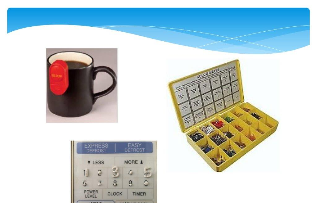 3 images of independent living aids: mug with liquid sensor, tactile microwave labels, and color mates clothing tags.