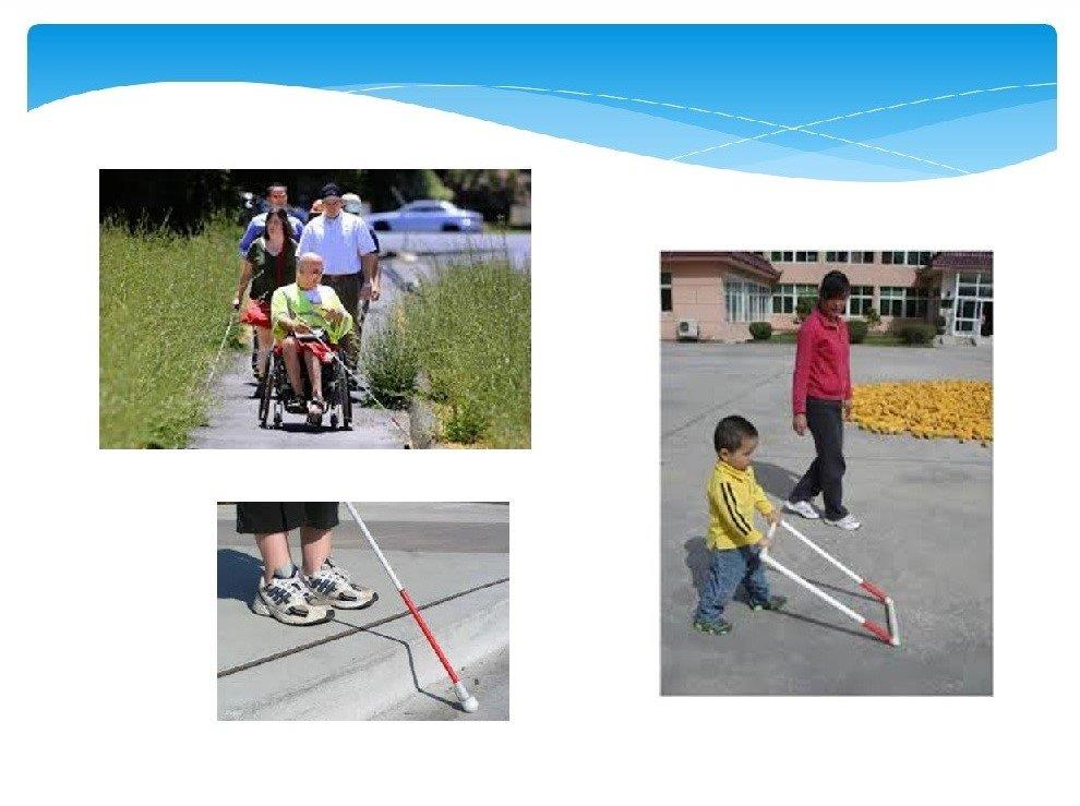 Images of a student in a wheelchair using a cane along a sidewalk trail, toddler using an AMD, and student's feet at a curb with cane in the gutter.
