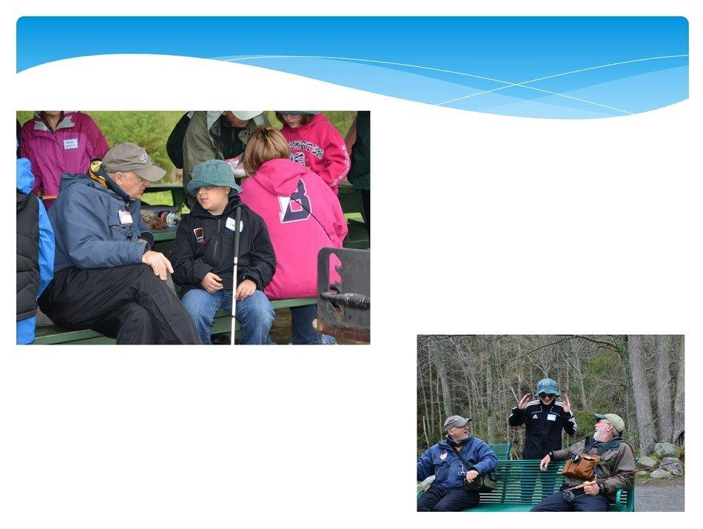 2 photos: Student holding a cane chatting with an older man at a picnic table and visually impaired man waving his hands as he talks to two fishing colleagues