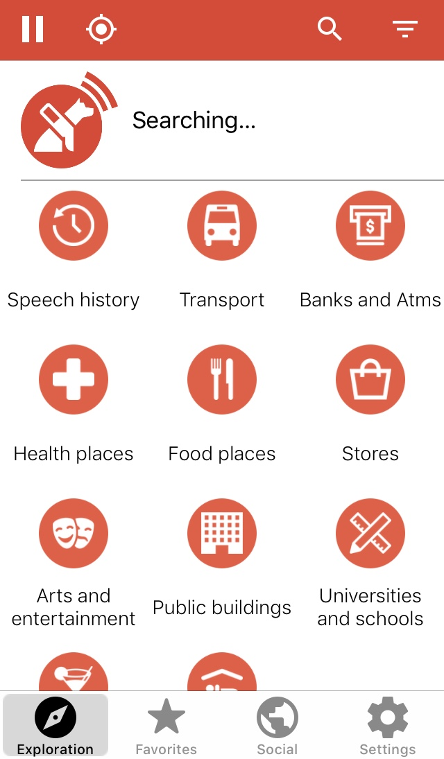 Screenshot of Lazarillo app showing the Exploration page with various Search categories.