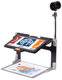 MATT Connect: Mounted tablet over print map worksheet. A small camera is mounted to the stand for distant viewing.