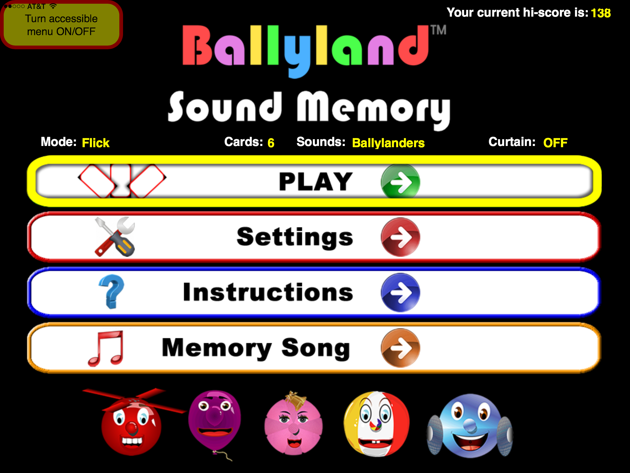Ballyland Sound Memory Menu screen: Play, Settings, Instructions, Memory Song menus.