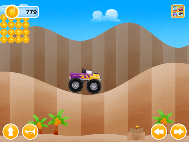Screenshot of More Trucks main screen with truck, hills and option buttons.