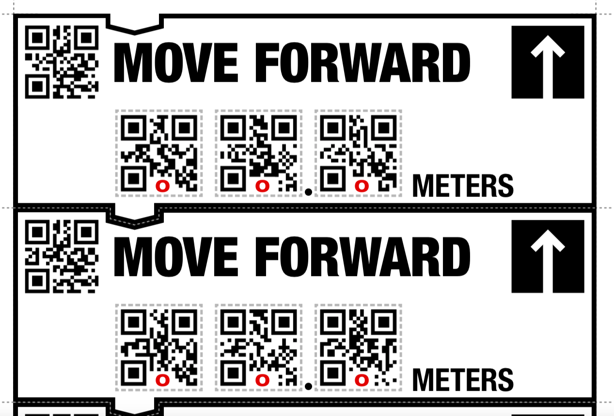 "Two printable coding blocks representing ""move forward"" command with bar codes and arrow pointing up."
