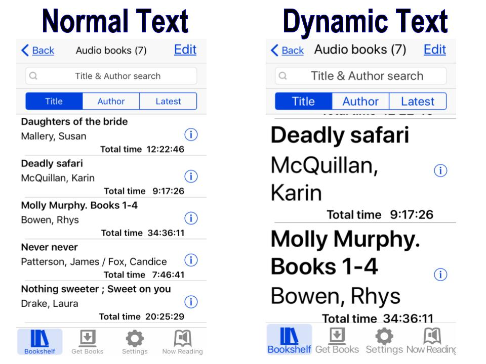 Comparison of font sizes between Normal text and Dynamic text in BARD Mobile App