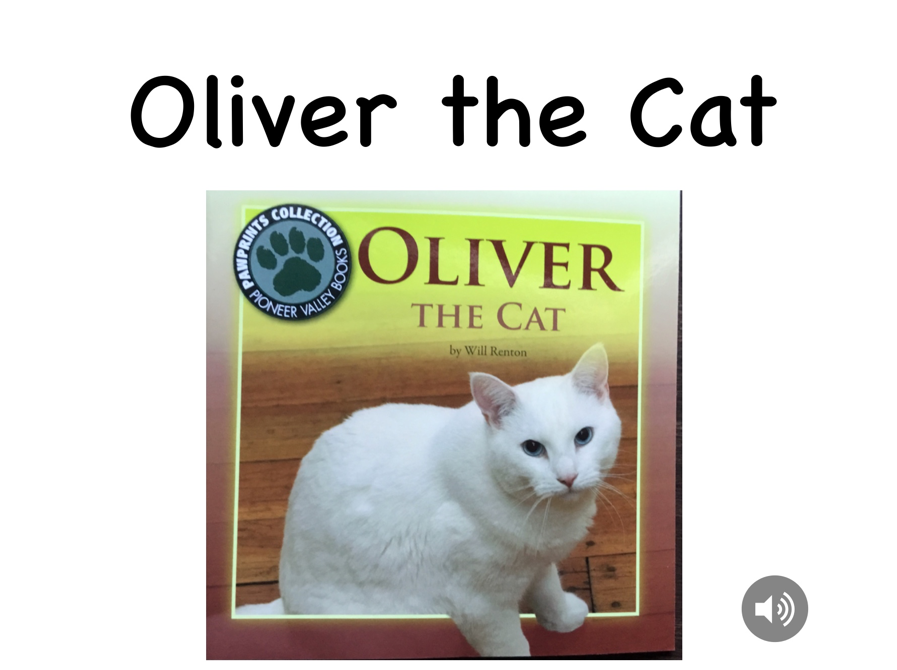 Cover of the book Oliver the Cat, the title, a picture of a white short-haired cat and audio button are present on the cover.