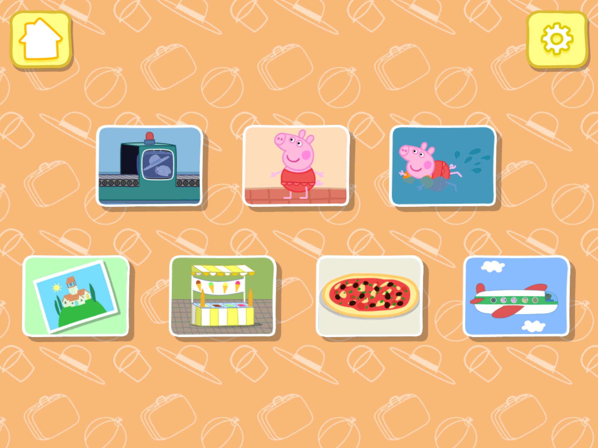 Screenshot of Peppa Pig app displaying screen with 7 activities, home and settings buttons.
