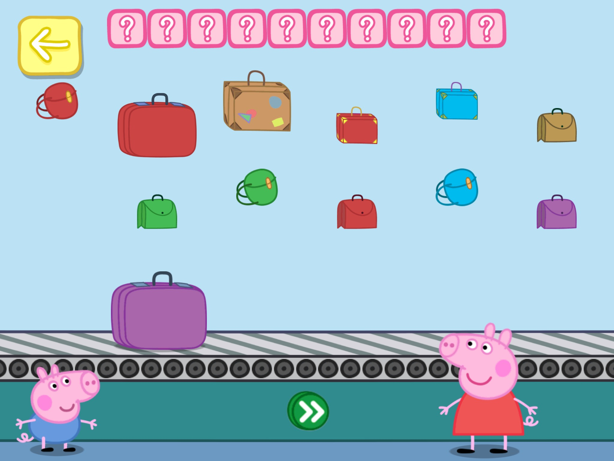 screenshot of Peppa Pig app displaying a variety of suitcases and boxes with question marks.