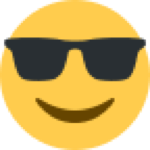 emoji: smiling yellow face with black sunglasses