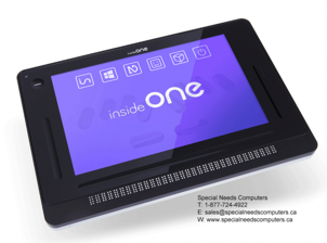 image of Inside ONE Windows tablet with a row of braille cells along the bottom of the tablet.