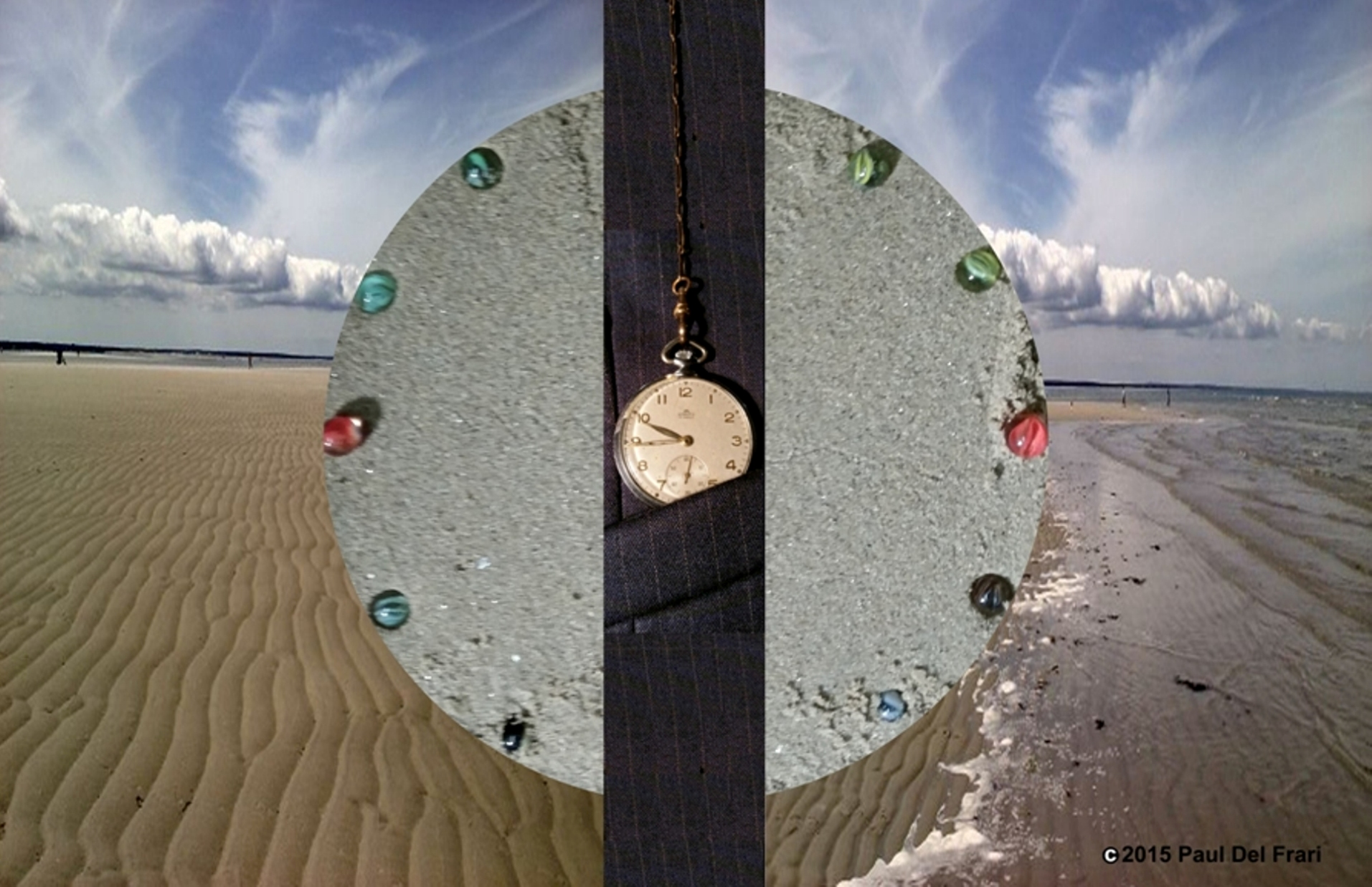 "Background is sand, beach and cloudy sky; on top of the beach in the center is cement circle with colorful marbles spaced along the edge. The ""front scene"" is a old-fashioned pocket watch sliding into a pocket. The pocket watch splits the image of the cement circle."