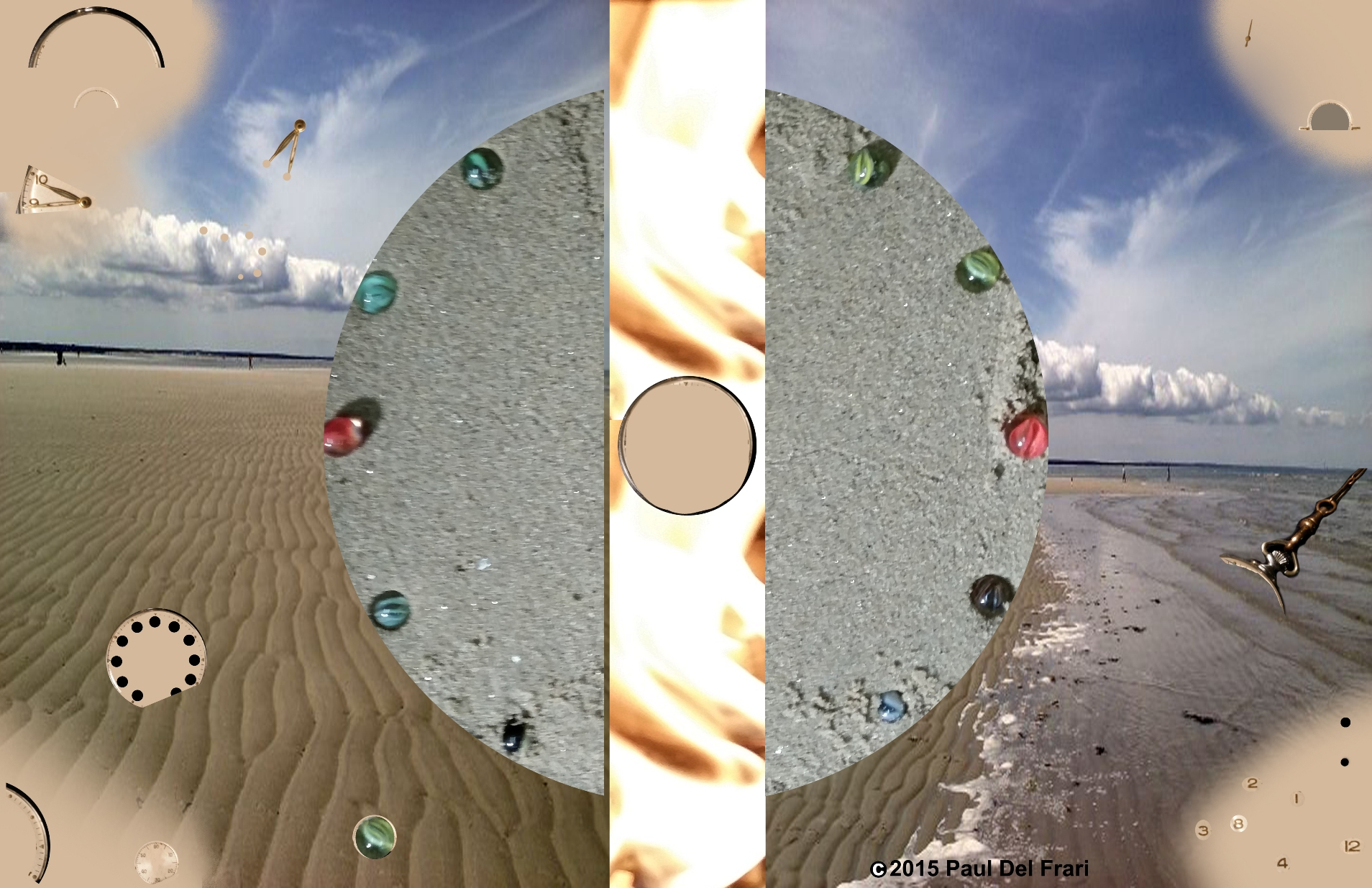 Same sand, water and sky image with the cement circle split by a narrow band which now has a fire background and round circle where watch and pocket were. Pieces of the watch are randomly scattered on top of the sand, water and sky.