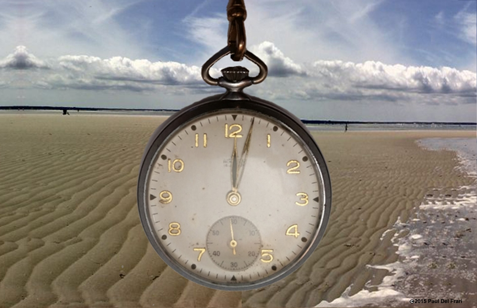 Same sand, water and sky background scene. The foreground has a large simple image of an old-fashioned pocket watch.