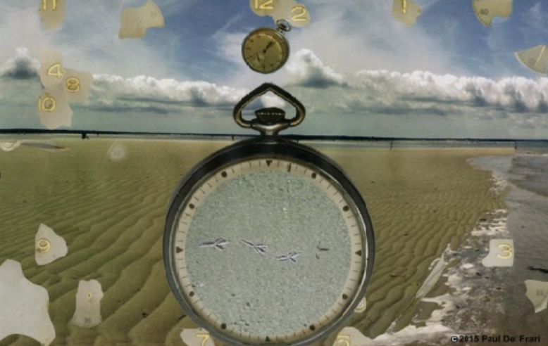 Same sand, water and sky background with large pocket watch; however, pocket watch is missing the numbers and hands - these items are randomly placed on top of the background scene. Bird tracks have been added to the middle of the watch face.