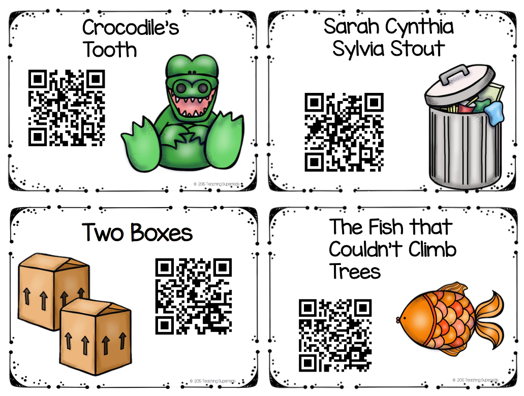 Screenshot of 4 book titles and corresponding QR Codes: Crocodile's Tooth, Sarah Cynthia Sylvia Stout, Two Boxes and The Fish that Couldn't Climb Trees