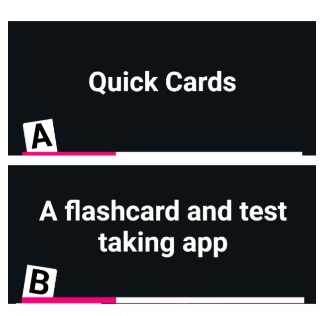 "Screenshot of Quick Cards with A side ""Quick Cards"" and B side ""A flashcard and test taking app"""