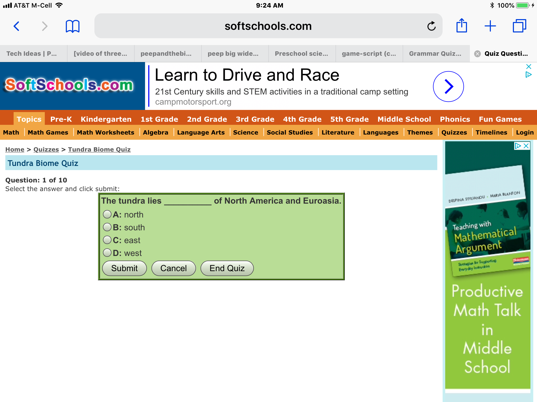 Screenshot of an iPad displaying the first multiple choice question of the Biomes Quiz.