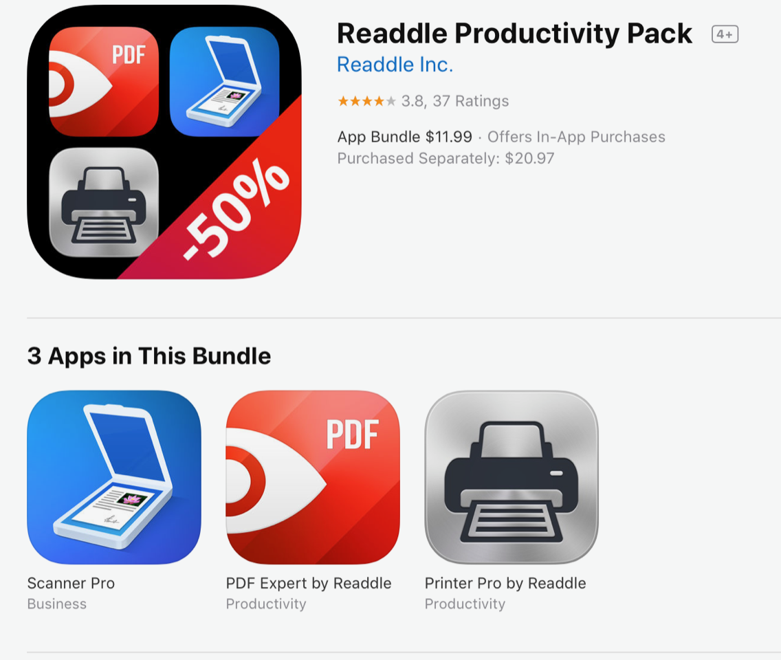 "Screenshot of Readdle Bundles in the App Store, with text, ""Readdle Productivity Pack by Readdle Inc for $1.99 offers in-app purchases, Scanner Pro, RDF Expert by Readdle, Printer Pro by Readdle, purchased separately, $20.97."