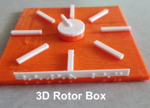 "3D printed rotor with turnable dial and 8 raised lines, and braille ""rotor box"" on the bottom edge."