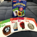 Lakeshore beginning reader alphabet books showing books for N, S, R, Q.