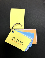 "Packet of Word Wall Words on a ring with the underlined word ""can"" on top."