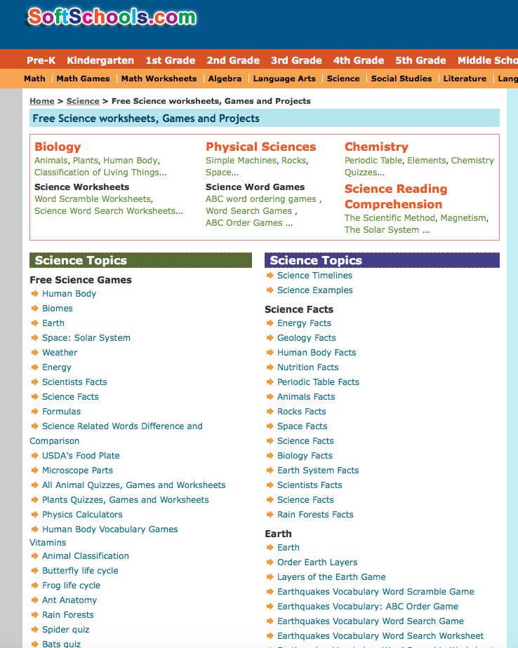 Screenshot of SoftSchools science page with two columns of science topics.