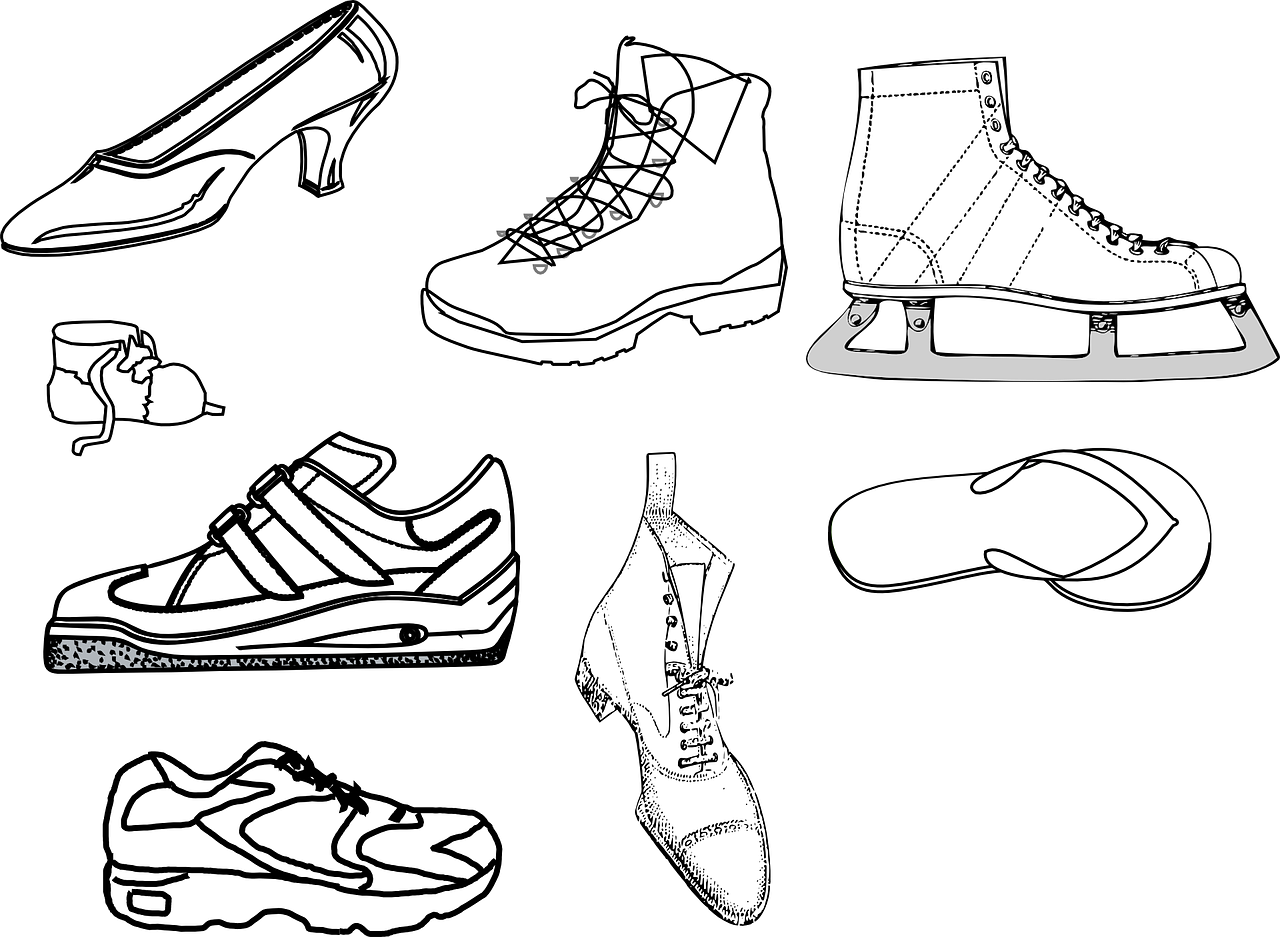 Outline drawings of various shoes: high heel, workbooks, baby shoe, tennis shoe, flipflop, ice skate, old fashion shoe.