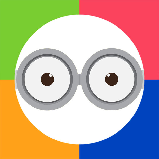 Sight Words by Photo Touch logo: cartoon face - a white circle with eyes and glasses on a colorful background.