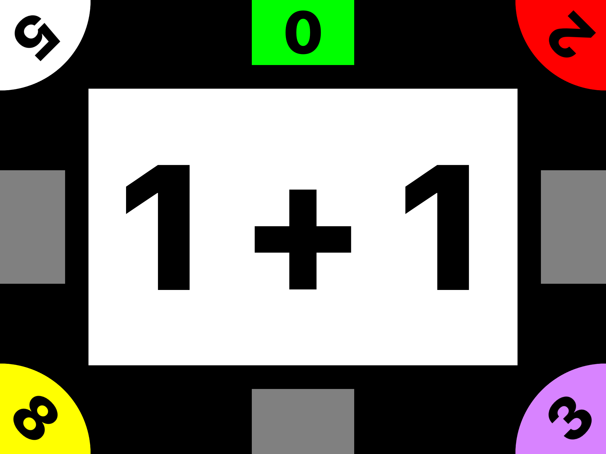 Slapstack Math screenshot displaying the addition card, 1+1 and 5 players ranging in scores from 0 - 8.