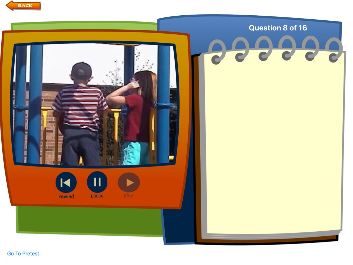 Screenshot of You Are a Social Detective app: split screen video with 2 children on a playground & Question pad.