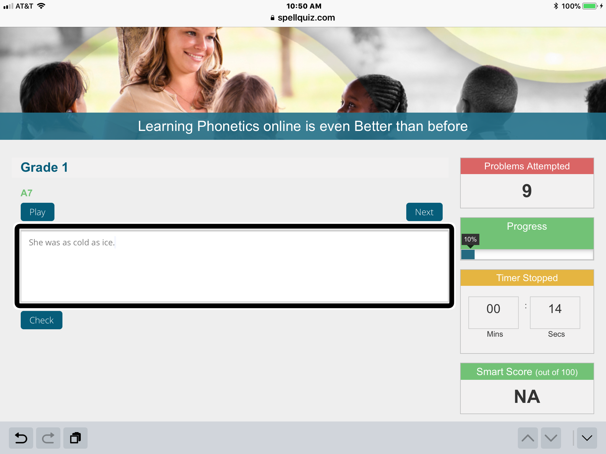 Screenshot of SpellQuiz website displaying question from Grade 1 Spelling Exercises #1.