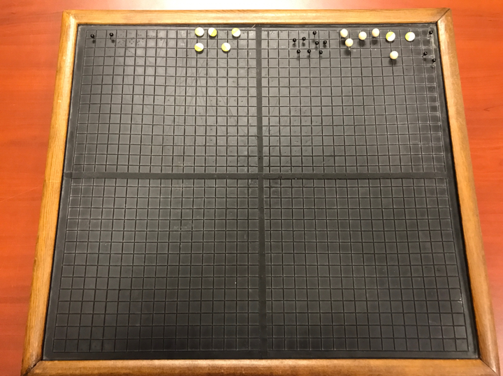 photo of APH's Graphing Aid - framed rubber mat with raised grid and push pins.