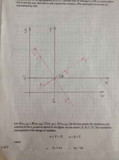 photo of grid paper with hand Cartesian plane with rotated 90 degree intersecting lines in red.