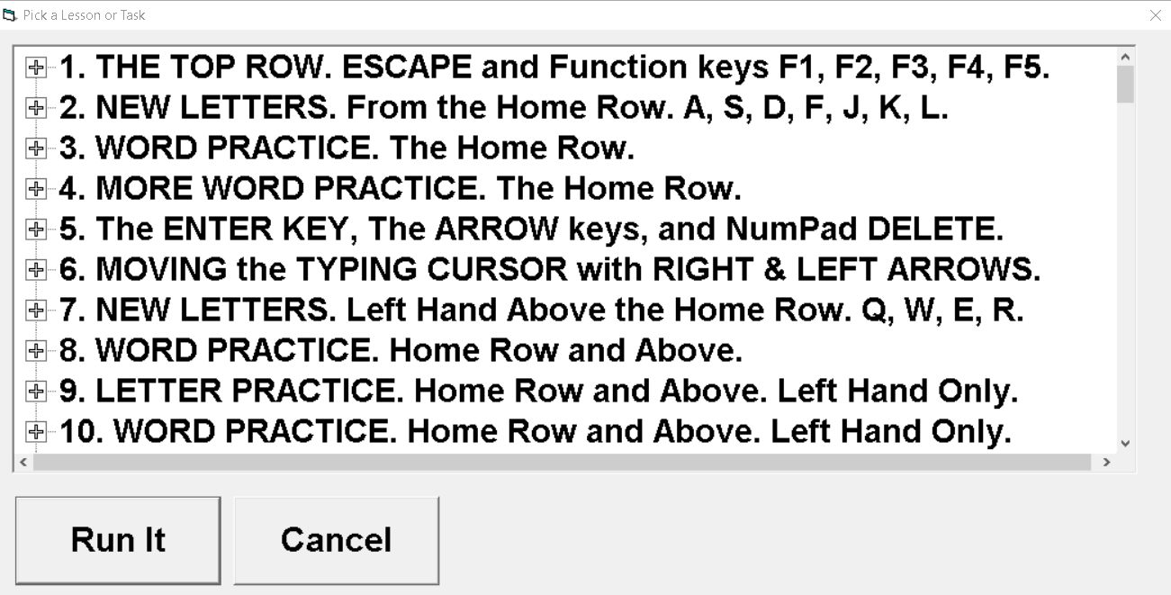 Screenshot of the first ten TypeAbility Lesson lists starting with the top row, escape and Function keys.