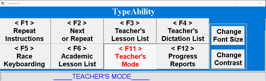 "Screenshot of TypeAbility Main Page with ""F11 Teacher's Mode"" in red print."